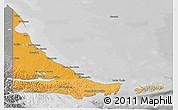 Political Shades 3D Map of Tierra del Fuego, desaturated