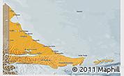 Political Shades 3D Map of Tierra del Fuego, semi-desaturated