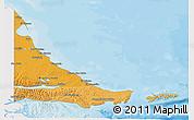Political Shades 3D Map of Tierra del Fuego, single color outside
