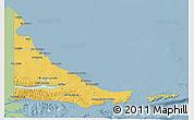 Savanna Style 3D Map of Tierra del Fuego, single color outside