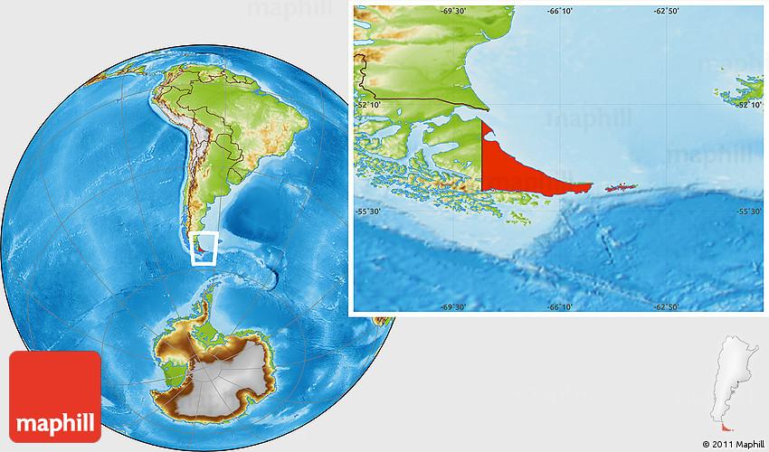 physical location map of tierra del fuego