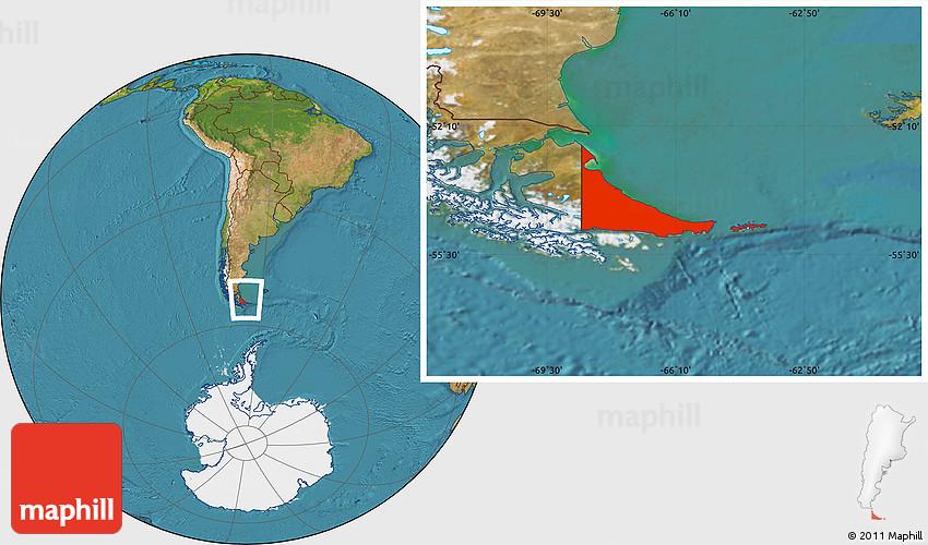 satellite location map of tierra del fuego