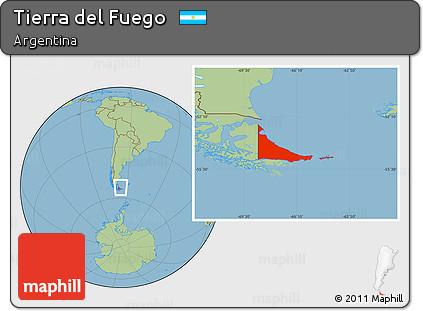 Savanna Style Location Map of Tierra Del Fuego