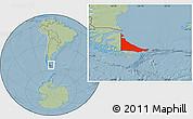 Savanna Style Location Map of Tierra del Fuego, hill shading