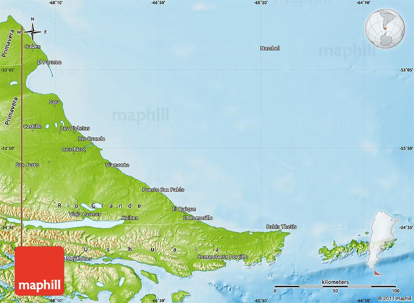 physical map of tierra del fuego