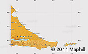 Political Shades Map of Tierra del Fuego, cropped outside