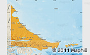 Political Shades Map of Tierra del Fuego, shaded relief outside