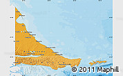 Political Shades Map of Tierra del Fuego, single color outside