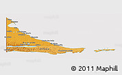 Political Shades Panoramic Map of Tierra del Fuego, cropped outside