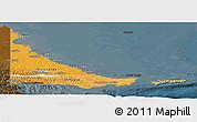 Political Shades Panoramic Map of Tierra del Fuego, darken