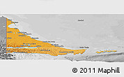 Political Shades Panoramic Map of Tierra del Fuego, desaturated