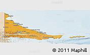 Political Shades Panoramic Map of Tierra del Fuego, lighten