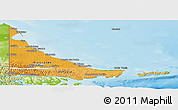 Political Shades Panoramic Map of Tierra del Fuego, physical outside