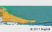 Political Shades Panoramic Map of Tierra del Fuego, satellite outside