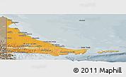 Political Shades Panoramic Map of Tierra del Fuego, semi-desaturated