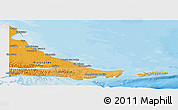 Political Shades Panoramic Map of Tierra del Fuego, single color outside