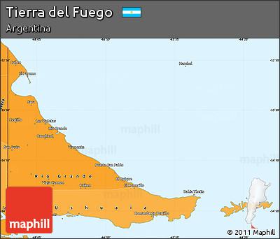 Political Shades Simple Map of Tierra Del Fuego