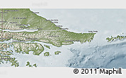 Physical 3D Map of Ushuaia (Is.), semi-desaturated