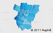 Political Shades 3D Map of Tucuman, cropped outside