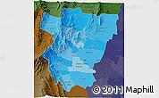 Political Shades 3D Map of Tucuman, darken
