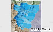 Political Shades 3D Map of Tucuman, semi-desaturated