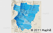 Political Shades 3D Map of Tucuman, shaded relief outside