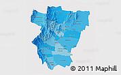 Political Shades 3D Map of Tucuman, single color outside