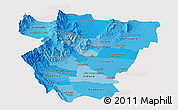 Political Shades Panoramic Map of Tucuman, cropped outside