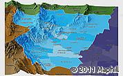 Political Shades Panoramic Map of Tucuman, darken