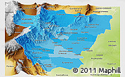 Political Shades Panoramic Map of Tucuman, physical outside