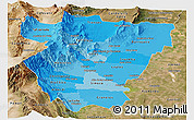 Political Shades Panoramic Map of Tucuman, satellite outside