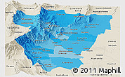 Political Shades Panoramic Map of Tucuman, shaded relief outside