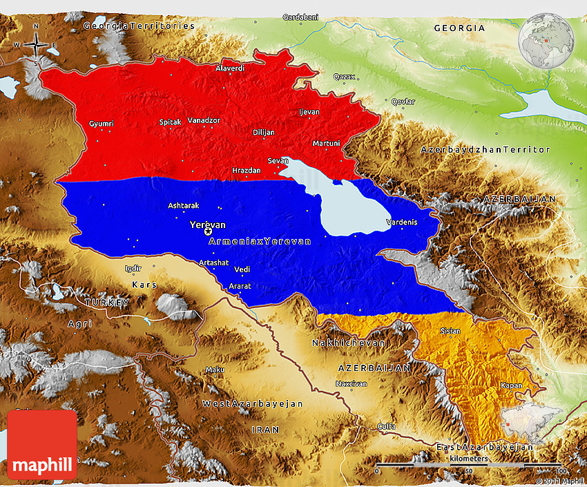 Flag D Map Of Armenia Physical Outside - Armenia physical map