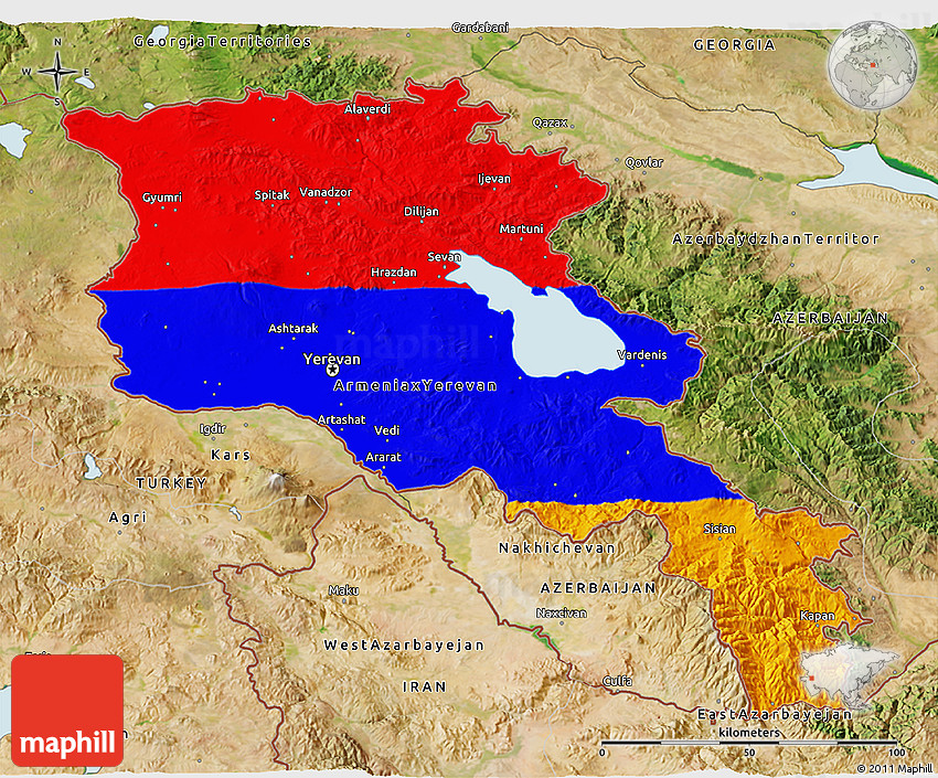 Flag 3D Map of Armenia, satellite outside