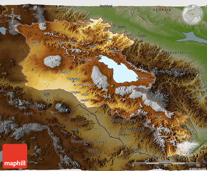 Physical 3D Map of Armenia, darken