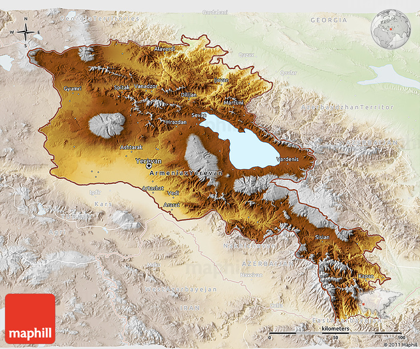 Physical 3D Map of Armenia, lighten