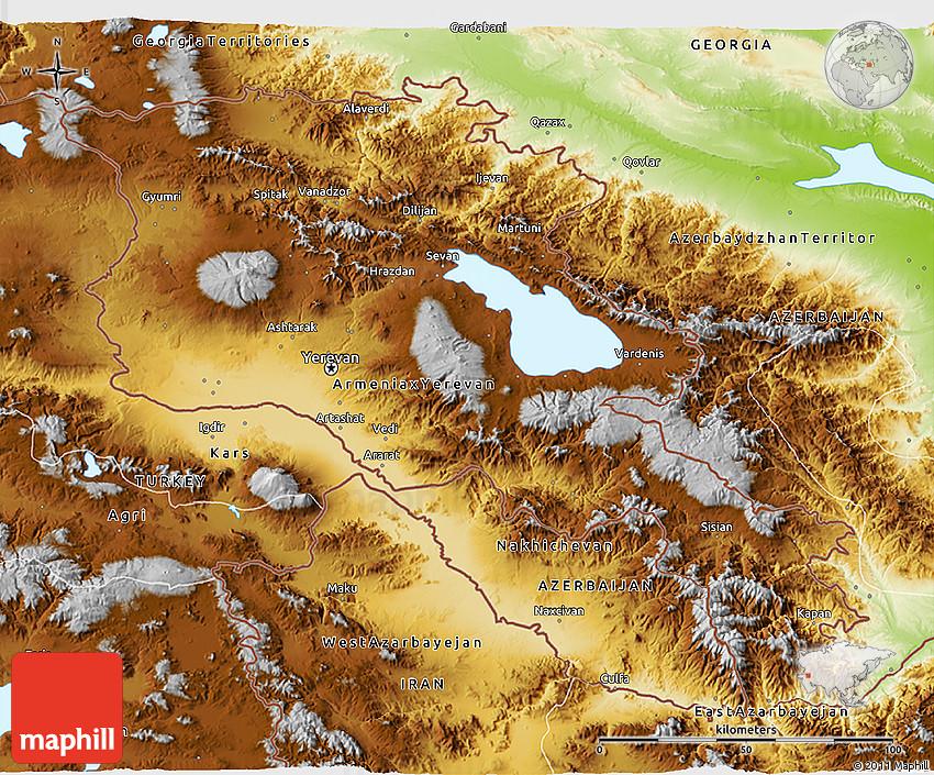 Physical D Map Of Armenia - Armenia physical map