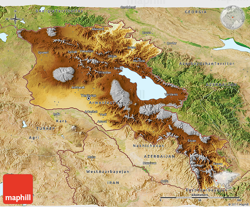 Physical D Map Of Armenia Satellite Outside - Armenia physical map