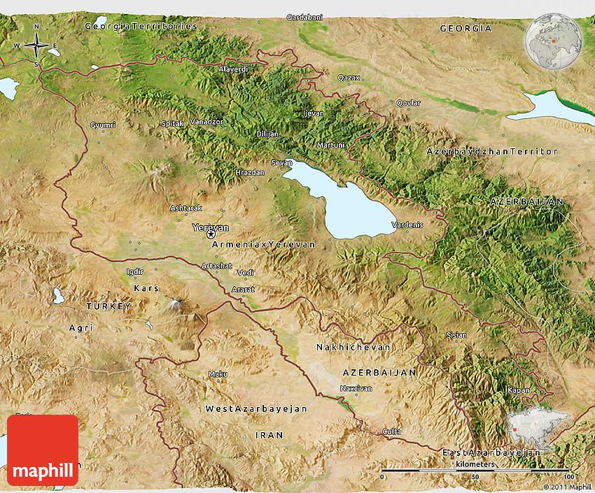 Satellite 3D Map of Ar...