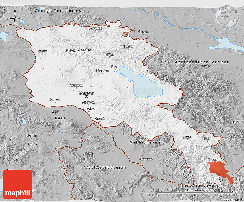 Gray D Map Of Armenia X Yerevan - yerevan map