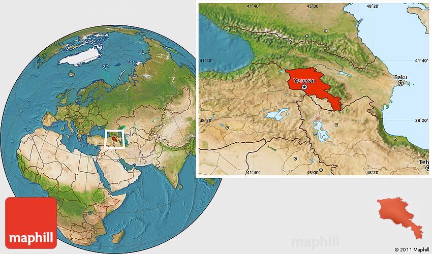where is yerevan armenia on the map Satellite Location Map Of Armenia X Yerevan where is yerevan armenia on the map