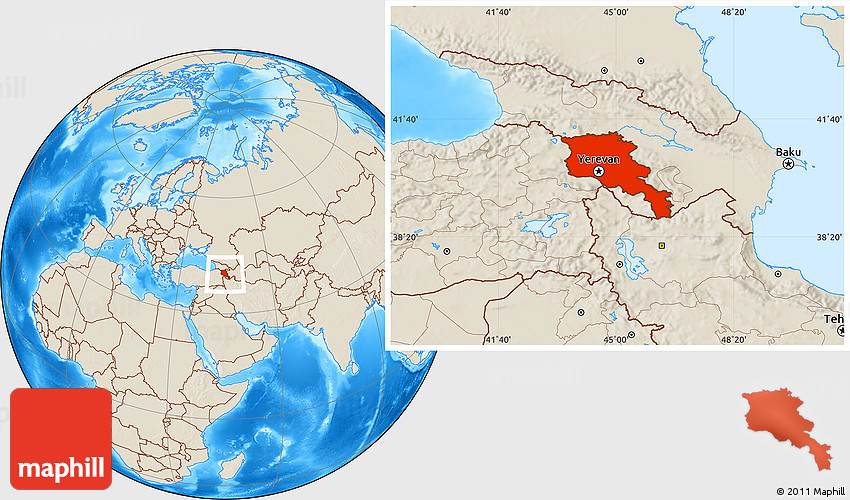 Shaded Relief Location Map of Armenia X Yerevan on tashkent world map, monaco world map, tallinn world map, almaty world map, zagreb world map, liechtenstien world map, andorra world map, bishkek world map, karachi world map, astana world map, vatican city world map, kiev world map, sierra leone world map, vilnius world map, podgorica world map, dushanbe world map, kazan world map, riga world map, odessa world map, malta world map,