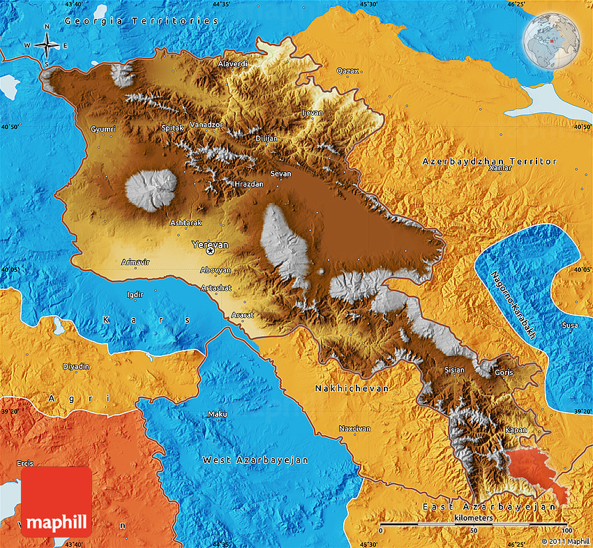 Physical Map of Armenia X Yerevan, political outside