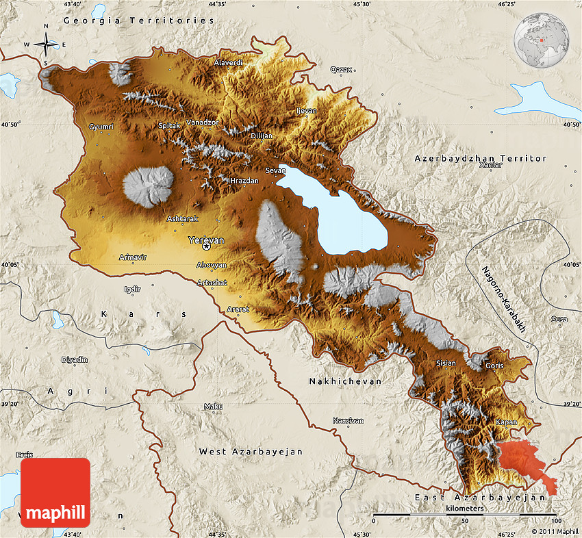 Physical Map of Armenia X Yerevan, shaded relief outside