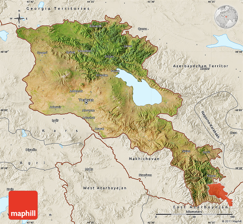 Satellite Map of Armenia X Yerevan, shaded relief outside