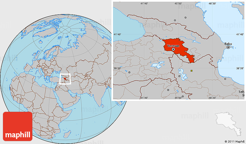 gray location map of armenia