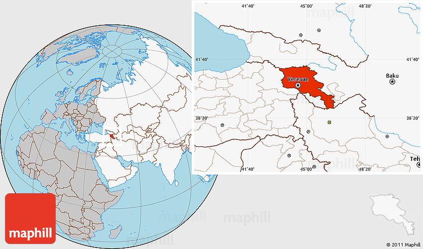 Gray Location Map of Armenia, highlighted continent on tatev armenia map, yerevan armenia map, gyumri armenia map,