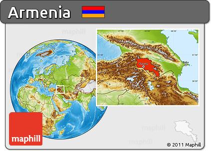 Free Physical Location Map Of Armenia - Armenia physical map