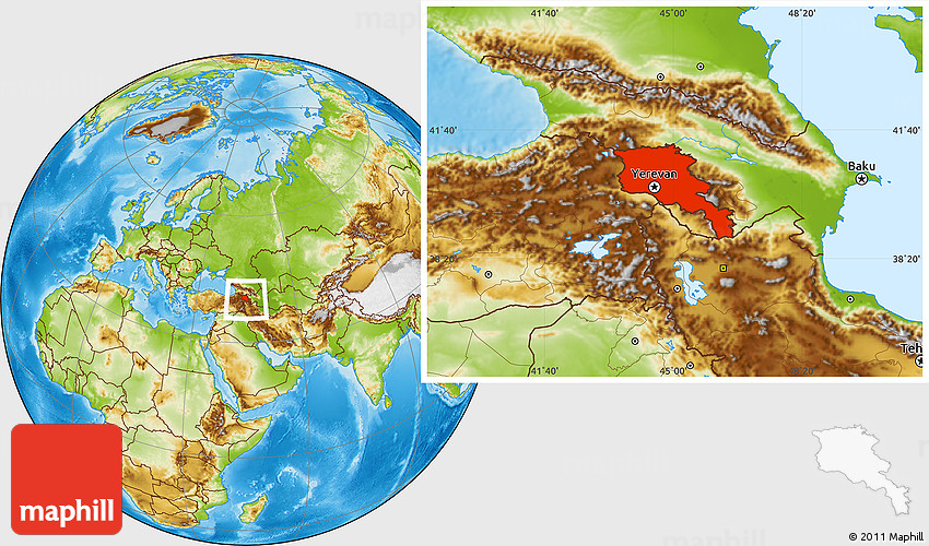 Physical Location Map Of Armenia - Armenia physical map