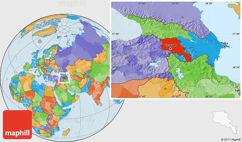 political location map of armenia